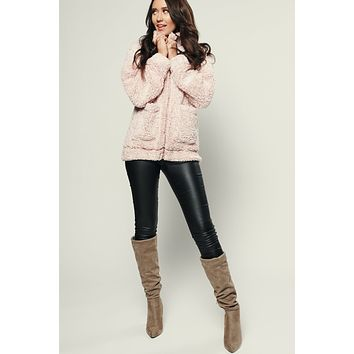 Snow Happens Fuzzy Jacket (Blush)