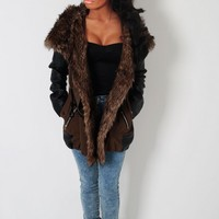 Urban Obsession Green and Black Leatherette Parka | Pink Boutique