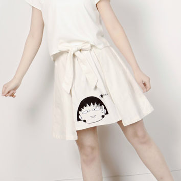 Once upon a time collection Japanese comic print white skirt