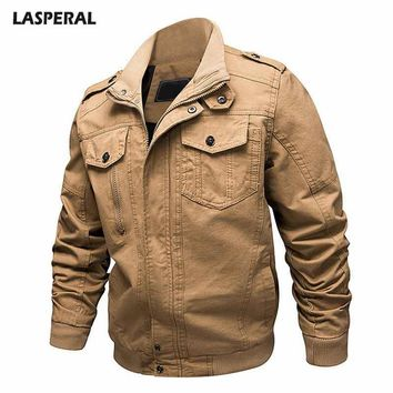 LASPERAL Large Size Men's Workwear Fashion Jacket Autumn And Winter 2018 New Men's Casual Military Lapel Jacket