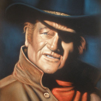 ON SALE John Wayne badass cowboy legend black velvet oil painting handpainted signed art