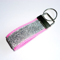 MINI Key Fob, Key Chain, Wristlet - Silver Glitter on Hot Pink
