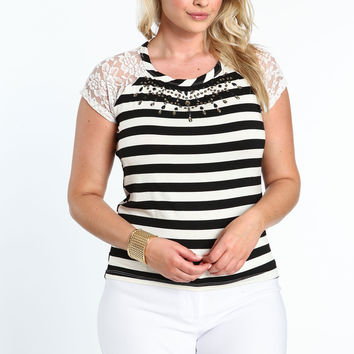 Plus Size Lace Striped Tee