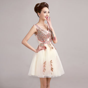 2015 new spring short bride Champagne V collar shoulders Tutu diamond summer Party Evening dress Bridesmaid Dresses 451245