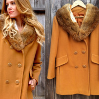 VTG 70s Fur Wool Camel Colored Coat Size small- large