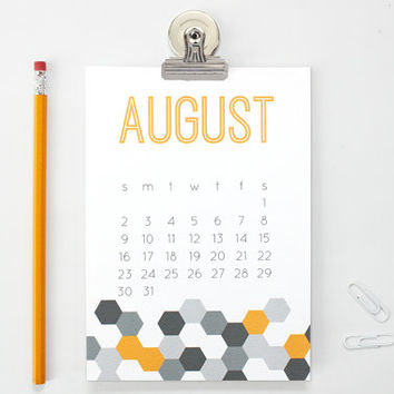 Magnetic Wall Calendar 2015 Desk Planner Modern Office Supplies Stocking Stuffer Ideas Geometric Pattern Small Monthly Calendar Office Gifts