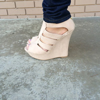 Beige Cut Out Wedges