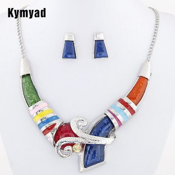 African Jewelry Set Crystal Pendant Statement Necklace Set Wedding Jewelry Set For Bridal Rhodium Color Enamel Jewellery Sets