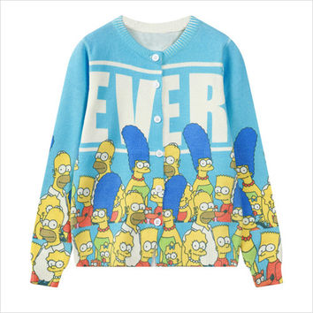 Blue Simpsons Print Cardigan
