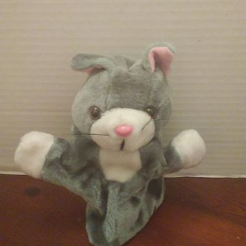 vintage midwestern home products gray kitty cat hand puppet plush