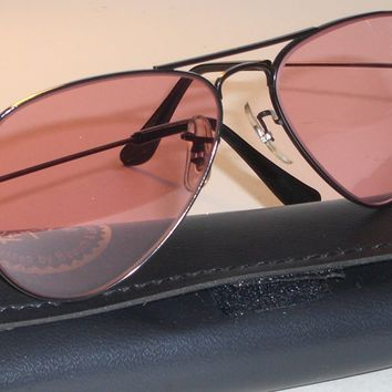 1960's 52mm VINTAGE B&L RAY BAN BLACK PHOTO ROSE TRANSITION AVIATOR SUNGLASSES