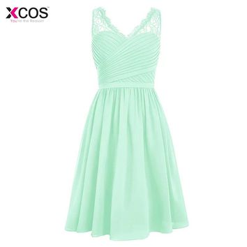 Mint Green Wedding Party Dress 2017 Ruffles Padded Knee Length Lace Party Gowns Chiffon Short Coral Purple Bridesmaid Dress