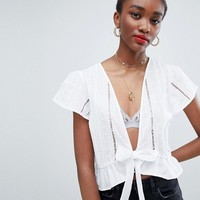 New Look Broderie Tie Front Blouse at asos.com
