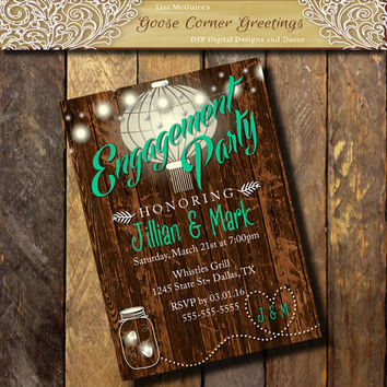Rustic BARNWOOD Invitation,Engagement Party invite, Stringlight invitations,Couples Shower,Country Invitation,Spring Summer wedding invite