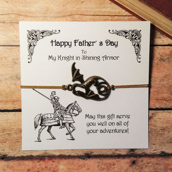 Customizable Knight in Shining Armor Card and Bracelet Set | Awesome Father's Day Gift with Card | Fantasy Inspired Dragon Bracelet