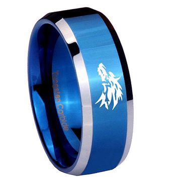 10mm Wolf Beveled Edges Blue 2 Tone Tungsten Carbide Engagement Ring