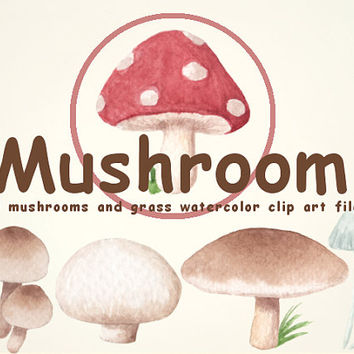 Mushroom Watercolor Clip Arts for Scrapbooking Digital Files Kids party Invitation