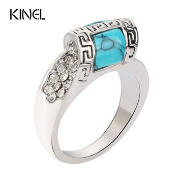 Turquoise 925 Sterling Silver Mosaic Crystal Punk Vintage Ring
