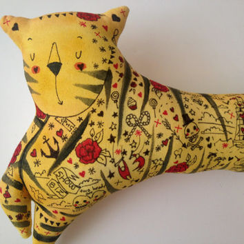 Hand Made Tattooed Tiger Circus Sideshow Performer Animal Hipster Plush Art Doll