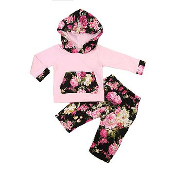 Baby Girls Winter Clothes Long Sleeve Hooded Tops Pants Leggings Fall Cotton Floral Outfits Two Piece Set
