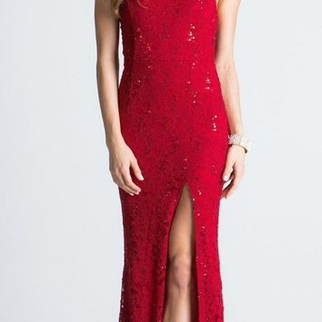 Red Halter Evening Gown Fit and Flare with Slit