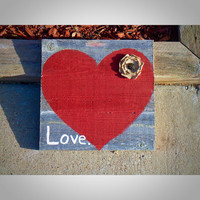 Rustic Love Sign- Fence wood love wall sign with rustic red heart and burlap flower