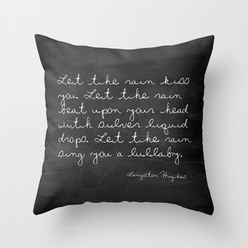Velveteen Pillow - Let the Rain - Langston Hughes Quote Pillow - Typography - Black and White - Walt Whitman - Chalkboard Pillow - Rain