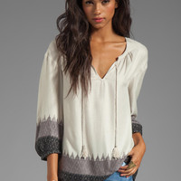 Soft Joie Sancia Ikat Print Top in Caviar from REVOLVEclothing.com