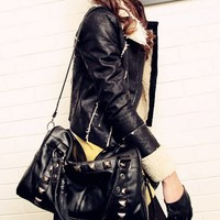 Fringed Rivet Optional Strap Black Handbag