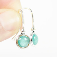 Teal Dangle Earrings, Sterling Silver, Handmade Jewelry