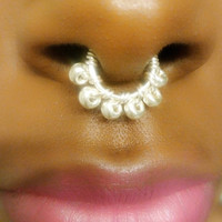 Real OR Fake septum ring - fake nose ring - faux piercing - silver fake septum - fake piercing - nose hoop - faux septum piercing -