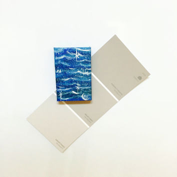 Original Waves Painting in Acrylic on Miniature Canvas Magnet in Blue Unique Gift Idea