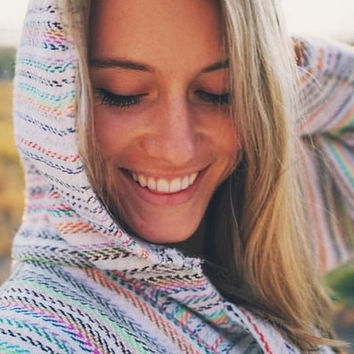 Baja Hoodie - Drug Rug Mexican Threads Poncho Jacket Hippie Poncho Jerga Pullover - Cream Rainbow