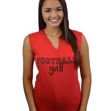 FOOTBALL Y'ALL CUTOFF TANK - RED