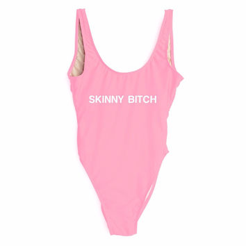SKINNY BITCH Pink High Cut One Piece Bathing Suit