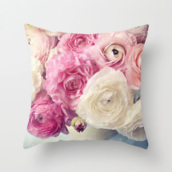 "Shabby chic home decor-""Shades of Pink"" pink Ranunculus 18x18 or 22x22 pillow, cottage decor, floral pillow, flowers, pastel pillow"