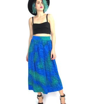 80s Watercolor Silk Skirt Tie Dye Blue Green Vintage Silk Midi Skirt High Waisted Pleated with Pockets Hippie Boho Matching Outfit Set (XL)