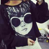 Spring New Harajuku Girl Wearing Glasses Printed Long-Sleeved Sweatshirt Hollow Sleeve All-Match Elbise Casual Pullover