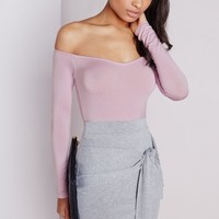 Missguided - Long Sleeve Bardot Bodysuit Lilac