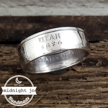 Utah 90% Silver State Quarter Coin Ring