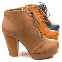 Agenda By Soda, Lace Up Ankle Bootie w Chunky Stacked Heels