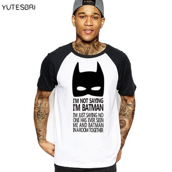 casual men t-shirt Top Tees T-shirts clothing cartoon The Batman sign geek gray T shirt summer cotton drake raglan brand