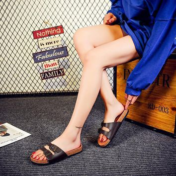 Summer fashion cork slippers couple shoes