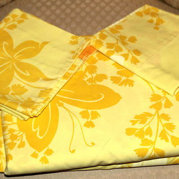 Vintage Sheet Set Yellow Orange Butterflies | Mad Men MCM Double / Full Sheet Set | Fitted , Flat + 2 Pillowcases | Yellow Butterfly Sheets