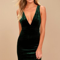 Three Cheers Forest Green Velvet Bodycon Dress