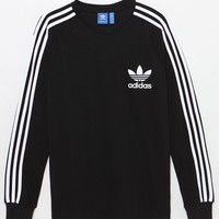 adidas 3-Striped Pique Black Long Sleeve T-Shirt at PacSun.com
