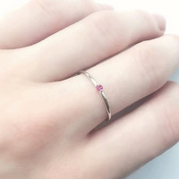 Tiny Thin Single Ruby Cubic Zirconia Silver Ring, 925 Sterling Silver Ring, Fuchsia CZ Stacking Ring, Thin CZ Stacking, Minimalist Jewelry