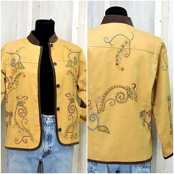 Boho embroidered jacket / earth yellow denim jacket / bohemian hippie paisley jacket / size XS