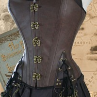 25 inch waist Steampunk Pirate Corset Brass by Harlotsandangels