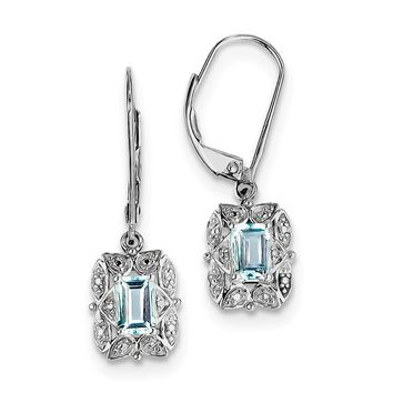Sterling Silver Light Sky Blue Topaz and Diamond Accented Lever Back Earrings